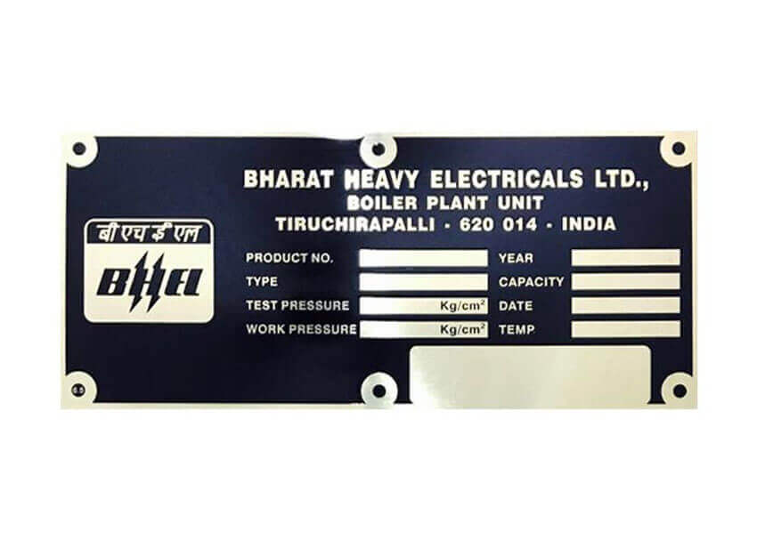 Bhel Brass Name Plate